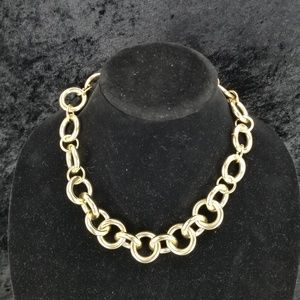 """J.Crew Gold Multi Circle Chunky Necklace 6"""" openin"""